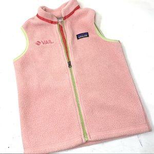 Patagonia kids pink fleece full zip vest 5T B1